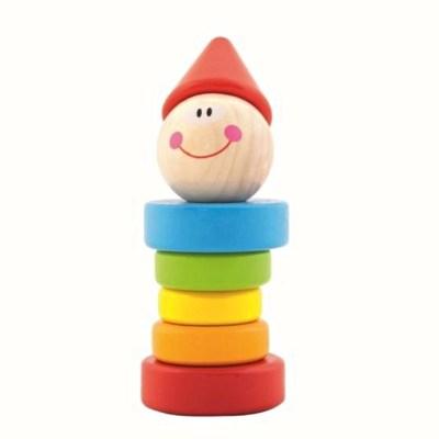 Jucărie clovn cu inele colorate din lemn - Trefl