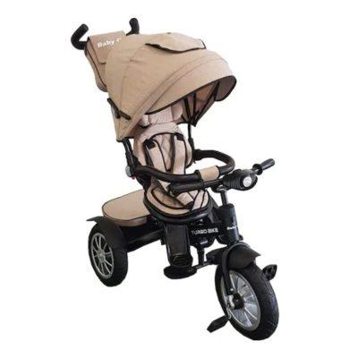 Tricicletă cu poziție de somn și scaun reversibil Turbo Bike bej