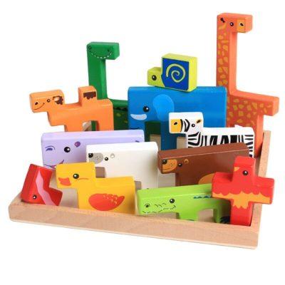 Joc Tetris din lemn cu animăluțe 3D
