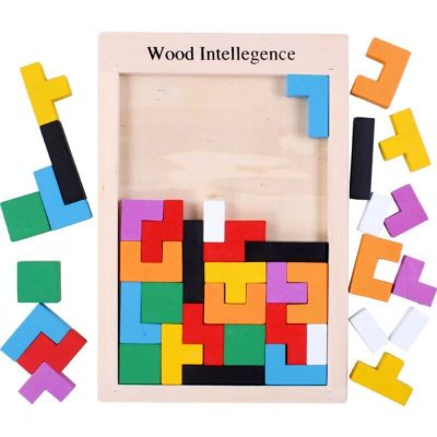 Joc Tetris 3D cu piese din lemn