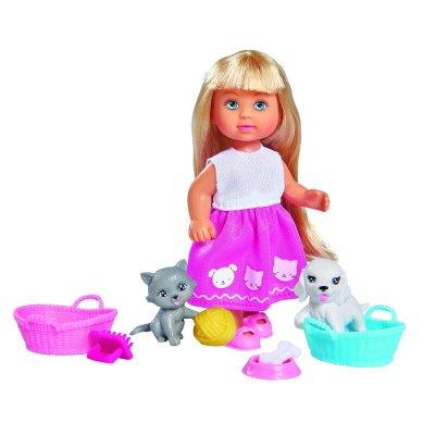 Păpușică cu cățel și pisicuță - Evi