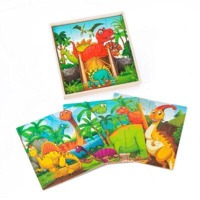Puzzle din lemn 4 în 1 Lumea Dinozaurilor
