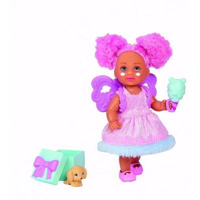 Papușică în rochiță roz cu animăluț de companie surpriză - Evi