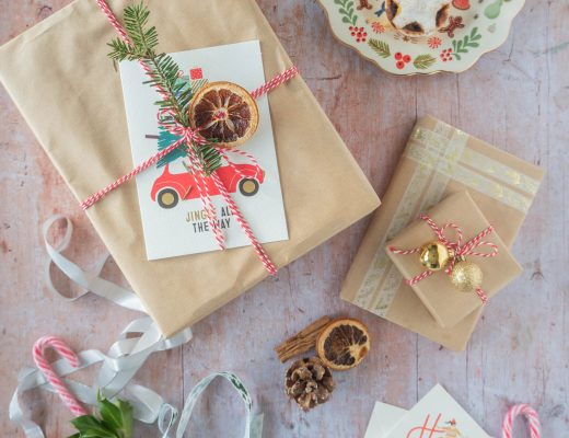A display of Christmas presents wrapped in DIY gift wrapping