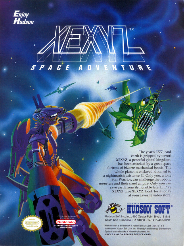 Xexyz for NES - a poster from Hudson Soft 1988
