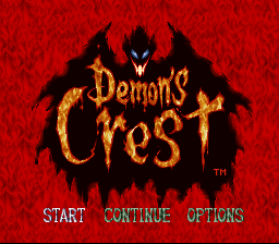 Demon's Crest SNES title screen