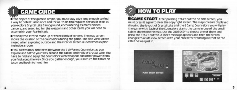 Friday the 13th for the NES manual excerpt