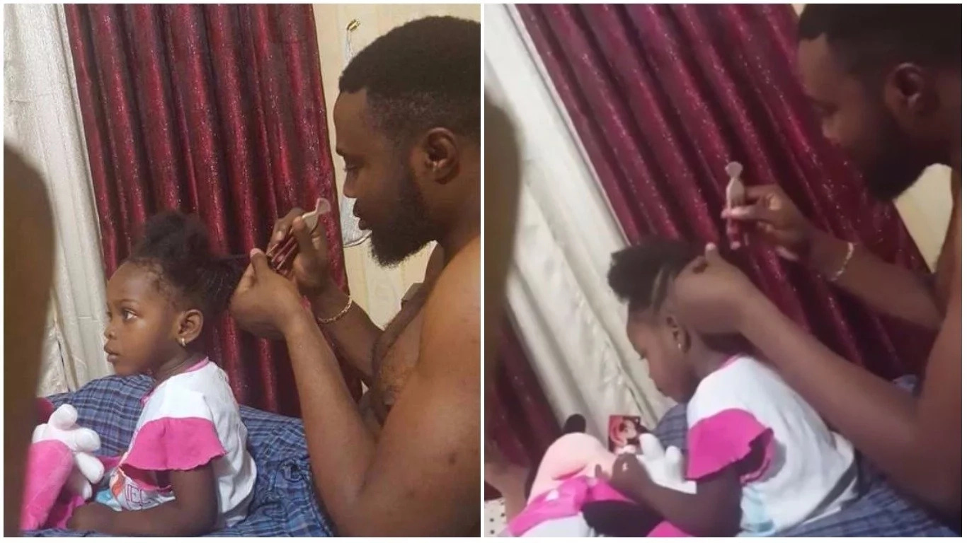 Adorable: Meet This Proud Nigerian Father Plaiting His Daughter's Hair