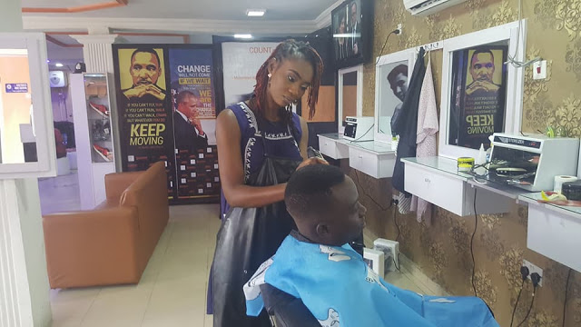 VIRAL Photos: Meet Adeola, The Young Female Barber