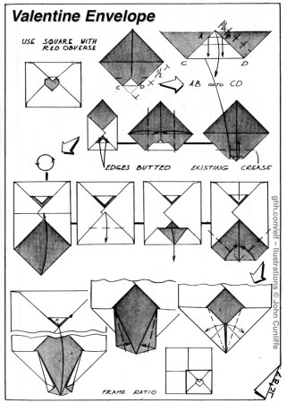 Valentine Envelope – Sumiko Momotani. Made from a square sheet of paper. Flap slotted into aperture. Adapted from a fold attributed to Sumiko Momotani (referenced in British Origami Society Magazine, 128) and Y. and S. Momotani, Image and Expression. See also Hawk Envelope. and Bunny Envelope, Yoshihide and Sumiko Momotani, Origami Kawaii, (ELFA library).