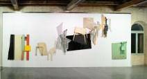 Exposition,Lamachinerieduréel,L'arsenal,Musée de Soissons,2010. Détail : Polyester, bois, formica (1996), bois cire (1991 et 1992), textile lin (2003), grillage (2003),céramique (2005), fontes d'aluminium (2010) bois et formica noir (1986), contreplaqué (2003) bois et stratifié (1987)Photo:RaphaëlChipault