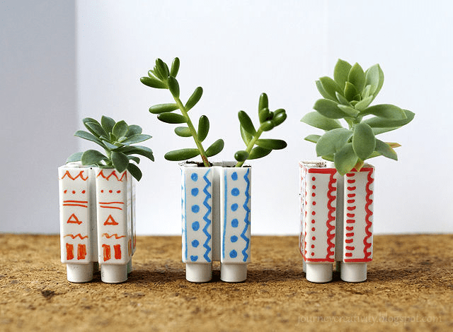 Individual blocks are the perfect size for baby succulents. Give them your own DIY treatment like Anna from Journey Into Creativity did using colored permanent markers.