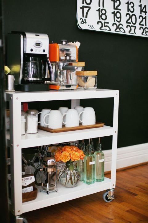 A cart with wheels makes it easy to move your coffee station as needed. Keep it in your kitchen for everyday use, then wheel it to the dining room  for dessert at dinner parties. See more at A Beautiful Mess »