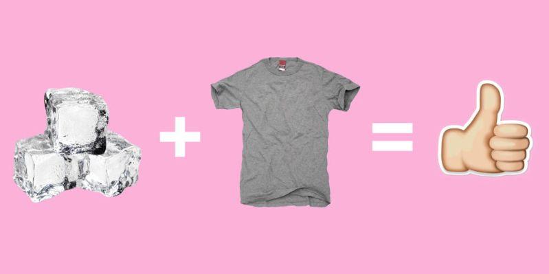ice cube wrinkled shirt trick