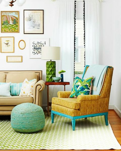 Existing curtains or pillows look extra luxe with new fringe. Another quick fix? Use leftover wall paint to refresh the frame of an old chair.
