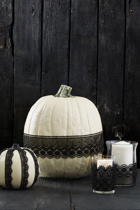 Choose ribbon or lace, then attach to pumpkins, candle holders or even wine glasses with a few swipes of Mod Podge. Let dry, then display. Done!