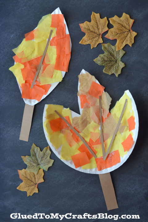 Mimic the changing leaves outside with on-hand supplies. Stick to traditional colors or let the kids add extra embellishments like stickers, doodles or glitter glue.  Get the tutorial at Glued to My Crafts » What you'll need: paper plates ($10, amazon.com), tissue paper ($6, amazon.com)