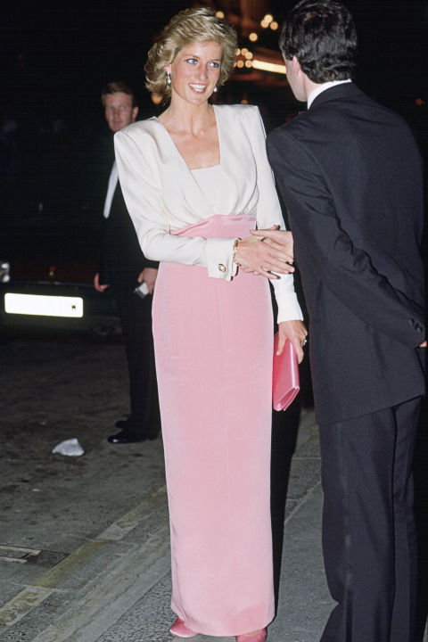 London-based designer Catherine Walker created over 1,000 looks for Diana over the years, including this color-blocked gown for a night at the ballet.