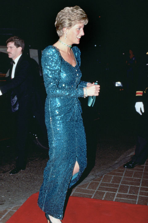 "Diana stepped out in her so-called ""mermaid dress"" not once but twice: First on a 1986 Austrian state visit and again to the 1990 Diamond Ball. The Catherine Walker gown has since sold for over $130,000 at auction."
