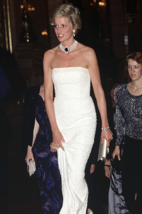 The fashion-forward Diana converted another piece of jewelry into a choker. A wedding gift from the Queen Mother, a large sapphire and diamond brooch became the clasp of a seven-strand pearl necklace. Diana frequently paired the piece (even after her divorce) with strapless dresses, like this Catherine Walker sheath.
