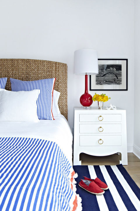 Replace old drawer handles and pulls with decorative ones. This low-effort trick adds personality and style to nondescript or inexpensive furniture. Want proof: The rings on this nightstand perfectly match the nautical theme. Get the look: dresser ring pulls, $10, amazon.com