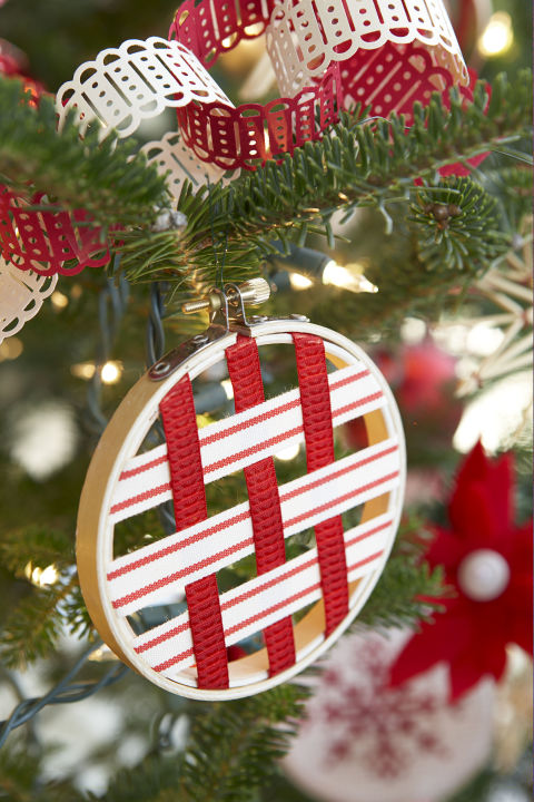 A lattice design looks pretty on a holiday pie and on a mini ornament. Plus, you can pick ribbons to match your tree's color scheme. Get the tutorial » What you'll need:embroidery hoop ($14 for6, amazon.com), ribbon ($6, amazon.com), double stick tape ($5, amazon.com)