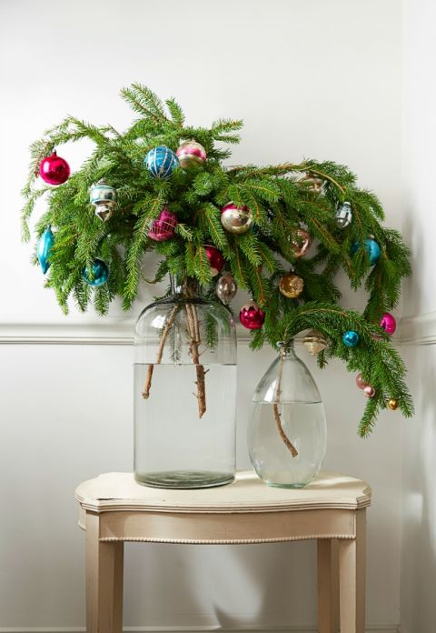 Christmas Ornament Decorations Ideas Vase Tree Branch Decor Holidays DIY Evergreen Ornaments