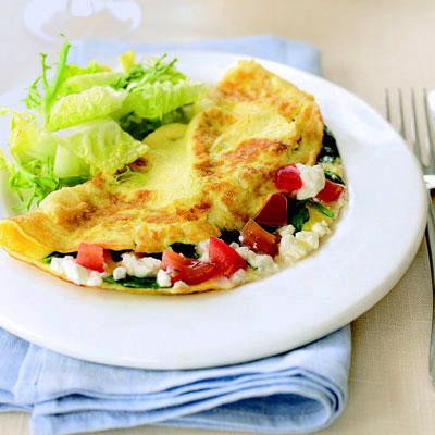 spinach feta tomato omelet