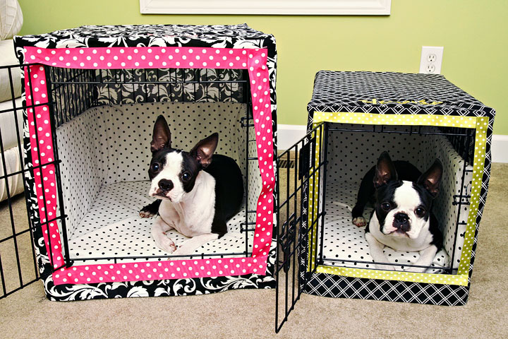 Kevin & Amanda's Boston terriers lounge in style with DIY crate covers and bumper pads that match the room's décor (because black wire certainly doesn't). Get the tutorial here »