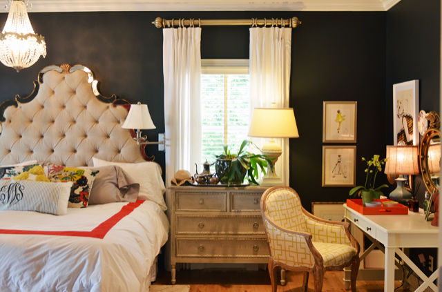 Edie at Life in Grace loves her intoxicating walls, painted in Graphite by Benjamin Moore. The color seems to change from navy to charcoal to true black depending on the light, but always acts as the perfect soft backdrop to her carefully curated bedroom. See more at Life in Grace »