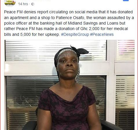 We Haven't Donated An Apartment & Shop To Woman Who Was Beaten By A Policeman – Peace Fm Debunks Rumours On Donating A House