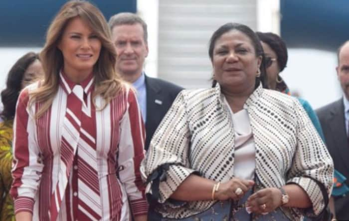 Trump's wife, Melania Trump arrives in Ghana, meets Rebecca Addo