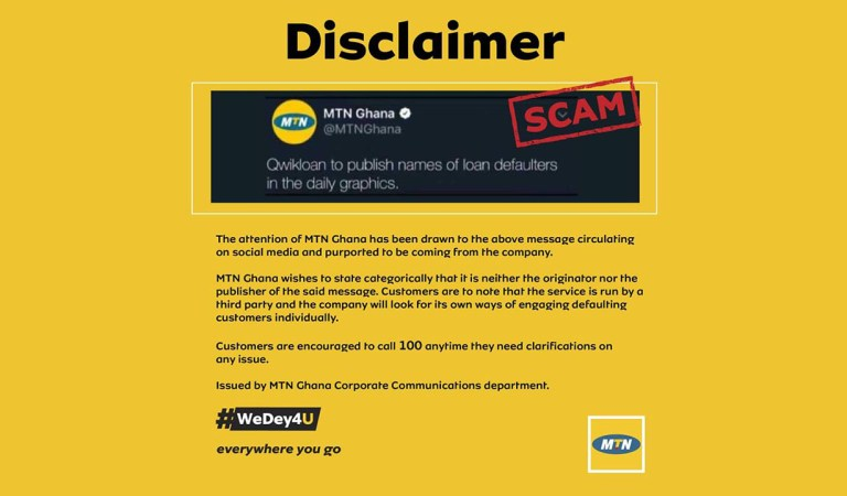 "Disclaimer: MTN is not publishing names of customers owing ""Qwikloan"""