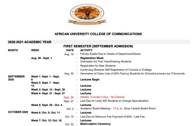Ttu Academic Calendar 2020-2021 Official African University College of Communications 2019/2020