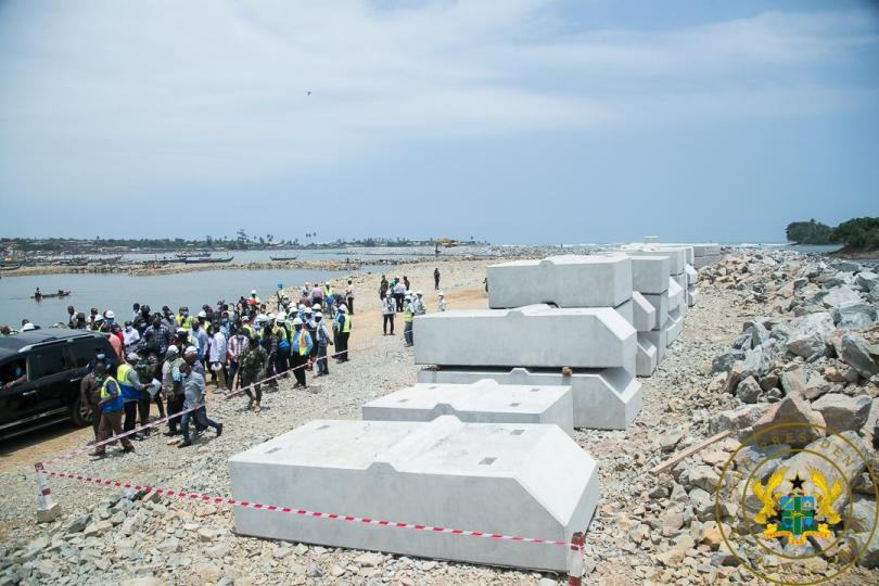 """""""Axim sea defence wall 85% complete: Axim fishing port 50% complete-President Akufo-Addo told"""