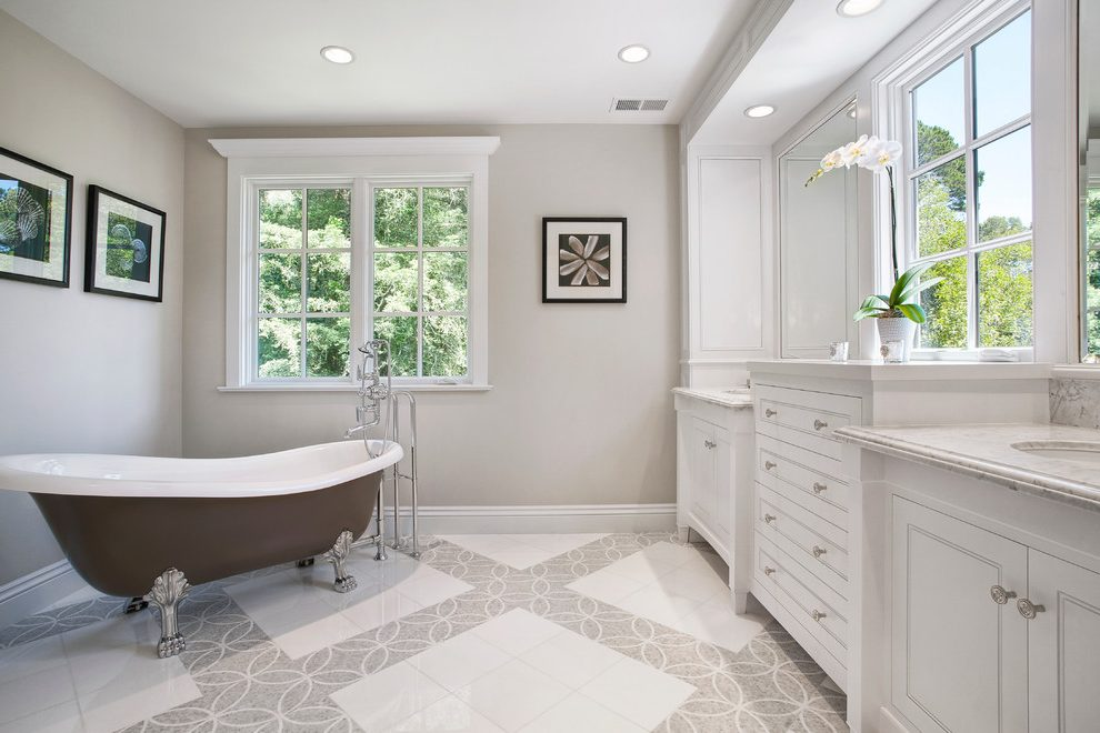 Traditional White Bathroom With Gray Patterned Tile Floor Drawers Claw Foot Tub