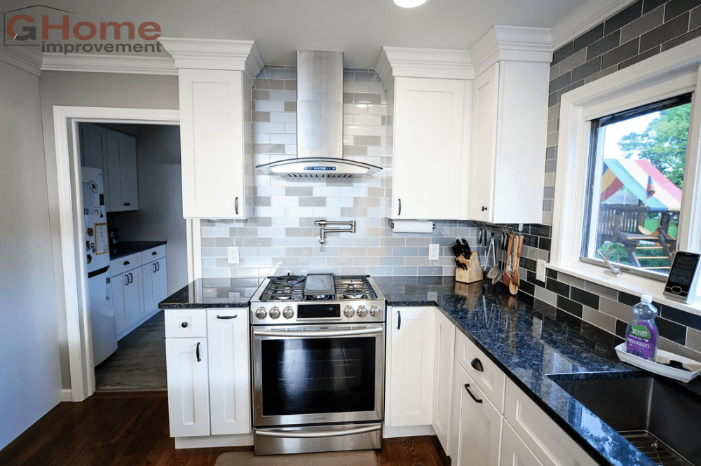 White Shaker Grey Island Cabinets - Kitchen Remodel - G Home Improvement