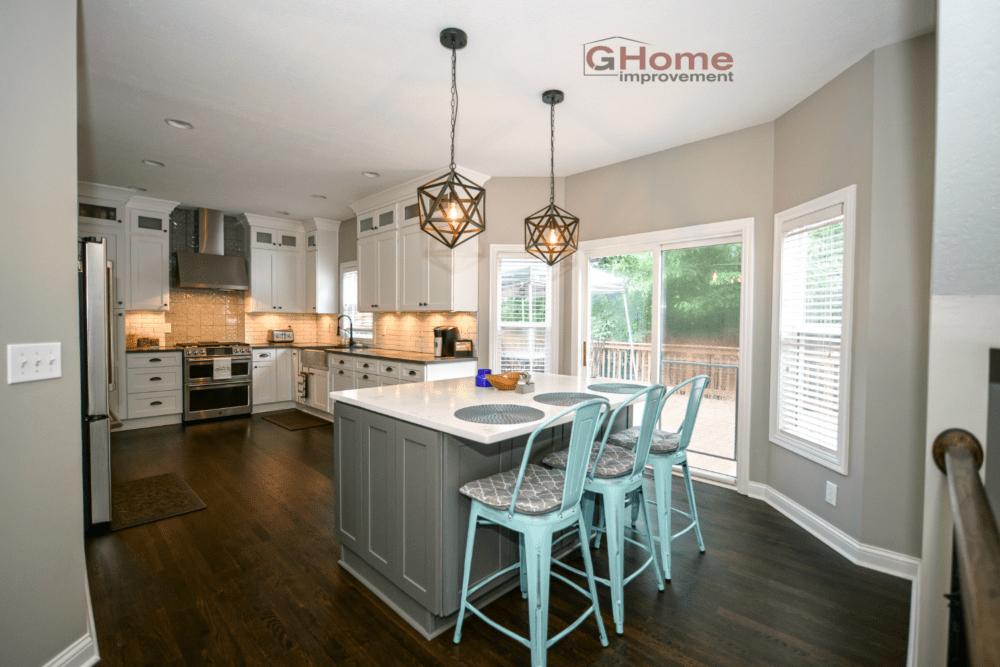 White Amp Grey Shaker Kitchen Cabinets Amp White Oak Flooring