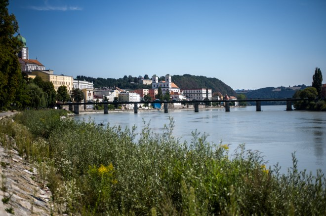 Passau where the Inn River meets the Danube River (Germany)