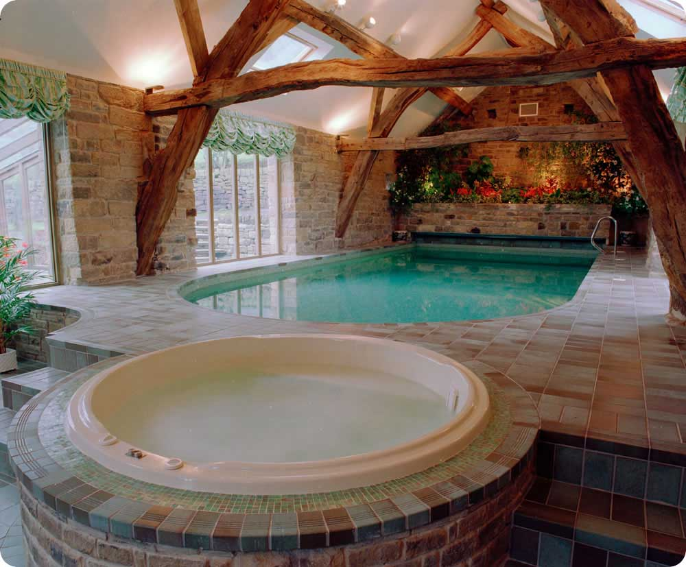 Indoor Pools And Jacuzi With Block Wall Decor