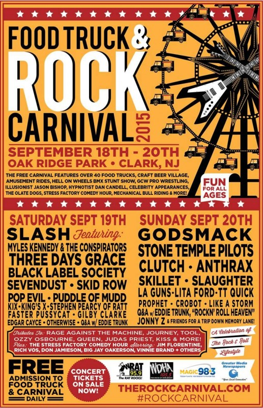 Food Truck and Rock Carnival 2015 full lineup poster