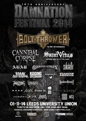 Damnation Festival 2014, final line up poster