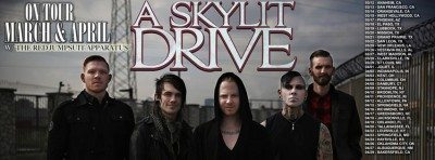 a skylit drive red jumpsuit tour banner