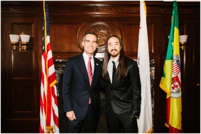 Los Angeles Mayor Eric Garcetti and DJ Steve Aoki.