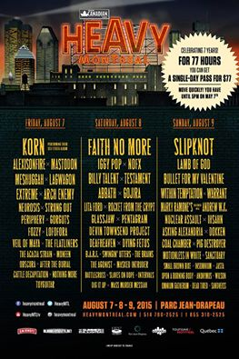 heavy montreal 2015 daily lineups