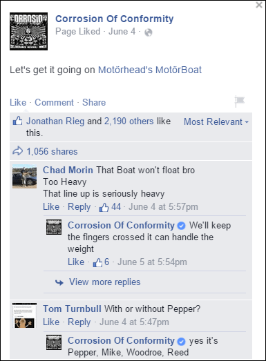 COC Post about Motorboat