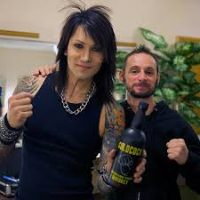 Ashley Purdy of Black Veil Brides with Adam Grayer of Coldcock Whiskey.