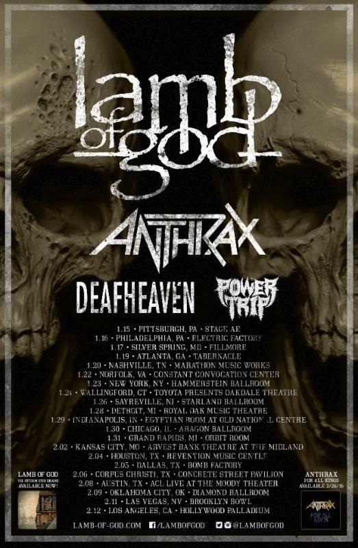 Lamb of God Anthrax Deafheaven and Power Trip Admat