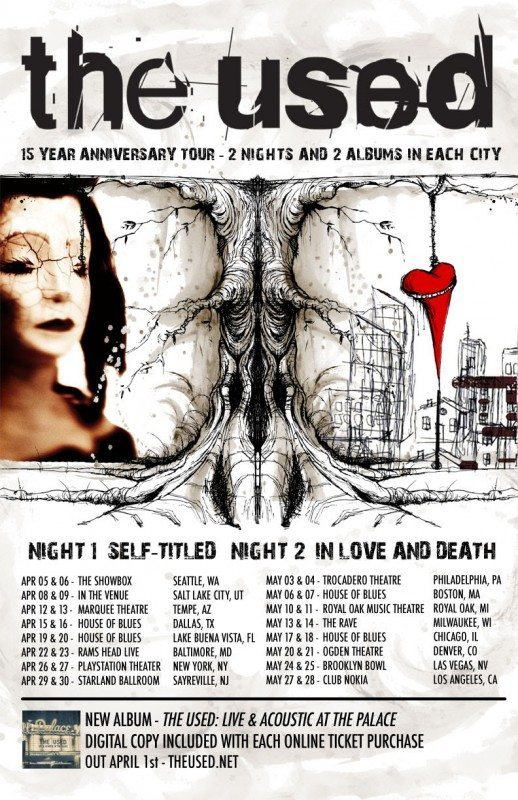 The Used 15 year tour admat