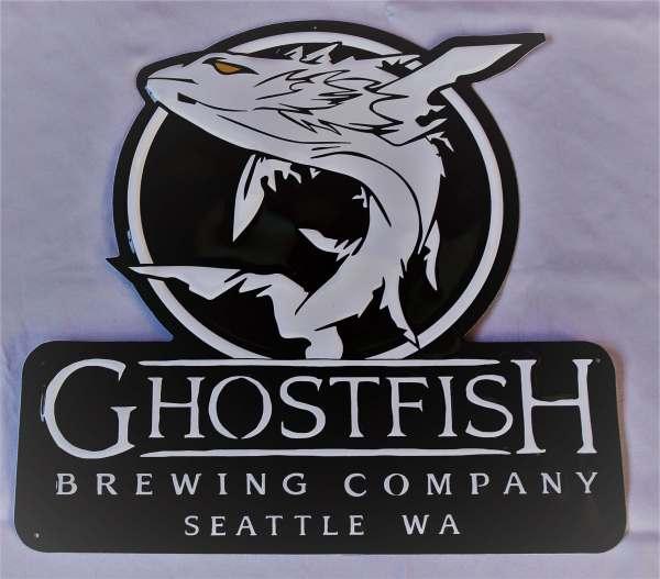 Ghostfish Brewing Logo Tin Tacker Front View